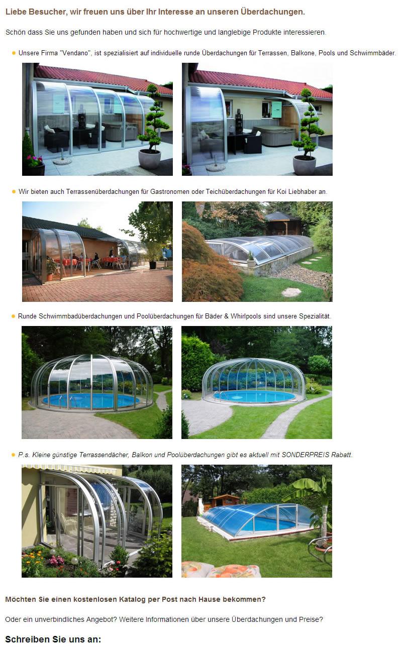 Terrassenüberdachungen, Wintergarten, Swimmingpoolüberdachungen für Pritzwalk