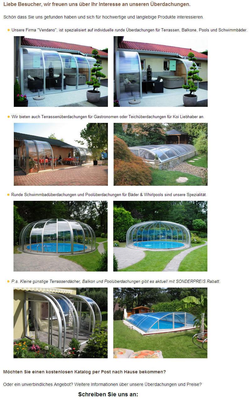Überdachungen, Wintergärten, Poolüberdachungen in Hurlach
