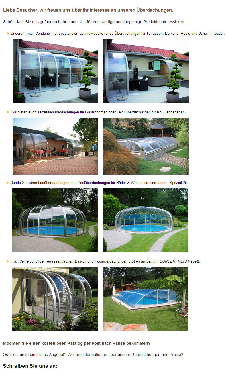 Terrassenüberdachungen, Wintergarten, Swimmingpoolüberdachungen  Kirchlauter